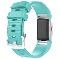 For Fitbit Charge 2 Bands, New Bracelet Strap Replacement Band Wristband with Secure Silicone Fasteners Metal Clasps for Fitbit Charge 2 (No Tracker) (Teal, 5.5 - 8.1 Inches wrist) (Misc.)
