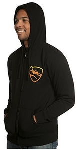 Rocket League Men's Orange Pro Glow Zip-Up Hoodie - Black (X-Large) - Cover