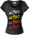 AC/DC Powerage Repeat Acid Wash Ladies T-Shirt (X-Small)