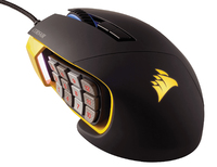 Corsair - Scimitar PRO RGB Optical MOBA/MMO Gaming Mouse - Black/Yellow - Cover