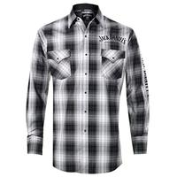 Jack Daniels Men's Embroidered And Grey Plaid Western Snap Shirt Black XX-Large (Apparel)
