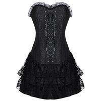 Burvogue Women's Gothic Boned Lace Corsets and Bustiers Dress with Skirt (Medium, Black) (Apparel)