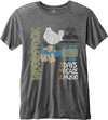 Woodstock Classic Vintage Poster Mens Charcoal Burnout T-Shirt (Small)
