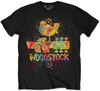 Woodstock Splatter Mens Black T-Shirt (Large)