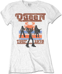 Queen 1976 Tour Silhouettes Ladies White T-Shirt (Small) - Cover