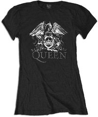 Queen Crest Logo Diamante Ladies Black T-Shirt (Small) - Cover