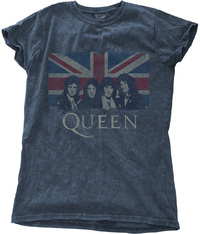 Queen - Vintage Union Jack Ladies Snow Wash Denim T-Shirt (Large) - Cover