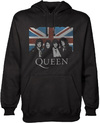Queen Vintage Union Jack Mens Pullover Black Hoodie (Large)