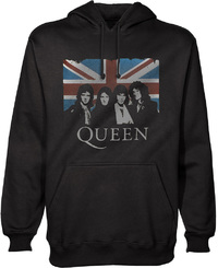 Queen Vintage Union Jack Mens Pullover Black Hoodie (Small) - Cover