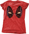 Deadpool Eyes Ladies Snow Wash Red T-Shirt (Large)