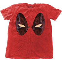 Deadpool Eyes Mens Snow Wash Red T-Shirt (Large)