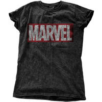 Marvel Comics Vintage Logo Ladies Snow Wash Black T-Shirt (Medium)