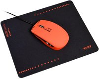 Port Designs - Wired USB Mouse - Crimson Red + Mouse Pad (NEON Series) - Cover