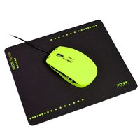 Port Designs - Wired USB Mouse - Lime/Green + Mouse Pad (NEON Series) - Cover