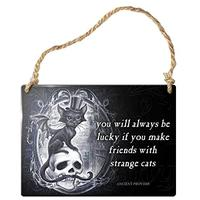 Alchemy Gothic SMALL Hanging Metal Sign Strange Cats Skull (Kitchen)