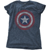 Marvel - Avengers Assemble Cap Distressed Shield Ladies Snow Wash Denim T-Shirt (Large)