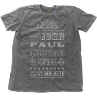 The Beatles - Mr Kite Mens Snow Wash Charcoal T-Shirt (Small)