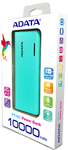 ADATA - PT100 Lithium-Ion (Li-Ion) 10000mAh Power Bank - Tiffany Blue/Magenta