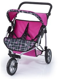 Bayer - Twin Jogger Doll's Pram (Pink/Black)