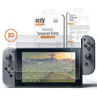 Screen Protector Nintendo Switch - Orzly Premium Tempered Glass [0.24mm] Screen Protector TWIN Pack [2 x Screen Guards] for 6.2 Inch Tablet Screen on Nintendo Switch Console (Accessory)
