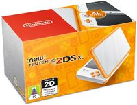 New Nintendo 2DS XL Console - White + Orange - Cover