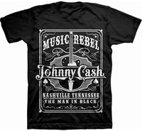 Johnny Cash Music Rebel Mens Black T-Shirt (X-Large) - Cover