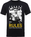 Johnny Cash Rules Everything Mens Black T-Shirt (Large)