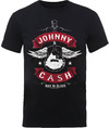 Johnny Cash Winged Guitar Mens Black T-Shirt (Small)