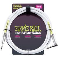 Ernie Ball 6049 Ultraflex 3 Metre Straight/Angled Instrument Cable (White)