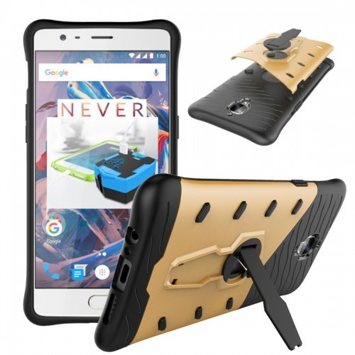 sports shoes e67f3 7bd76 Tuff-Luv Armour Case and Stand For the Oneplus 3 (Gold)