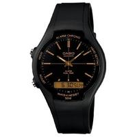 Casio Retro AW-90H Analog and Digital Watch - Black and Gold