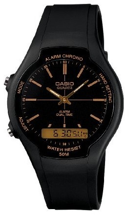 1d123c082 Casio Retro AW-90H Analog and Digital Watch - Black and Gold - Cover