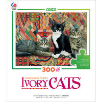 Ceaco - Ivory Cats:  Christie, Posky & Zelly Puzzle (300 Pieces)