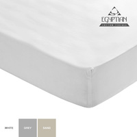 Sheraton - 400TC Egyptian Cotton Fitted Sheet in White (Queen XL) - Cover