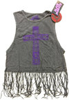Black Sabbath - Vintage Cross Ladies Babydoll Tassel Vest (Large)