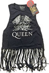 Queen - Crest Vintage Ladies Babydoll Tassel Vest (Medium)