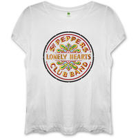 The Beatles - Sgt Pepper Ladies Fitted White T-Shirt (Large)