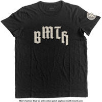 Bring Me The Horizon - Logo & Crooked Youth Icon Applique Slub Mens Black T-Shirt (Large)