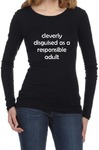 Cleverly Disguised Womens Long Sleeve T-Shirt Black (Small)