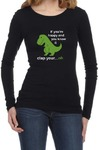 If You're Happy Womens Long Sleeve T-Shirt Black (Large)