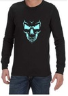 Scary Skull Face Mens Long Sleeve T-Shirt Black (XXXX-Large)