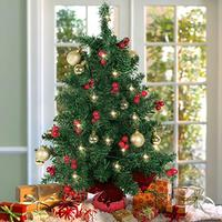 """Best Choice Products 22"""" Tabletop Pre-lit Christmas Tree Battery Operated with Red Berries and Gold Ornaments (Misc.)"""