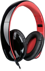 Microlab K360 Foldable Lightweight Headphones - Black and Red - Cover