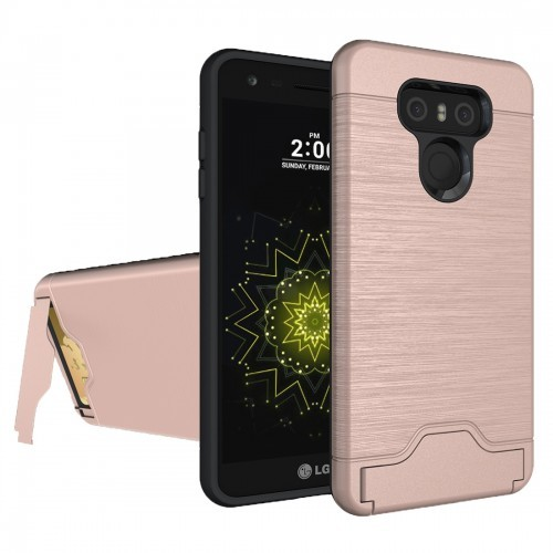 sports shoes 1e7cc 9acd4 Tuff-Luv LG G6 Dual Armour Case Stand and Card Holder - Rose Gold