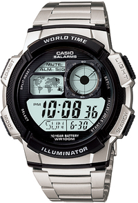 Casio World Time 100m Digital Watch - Silver and Black - Cover