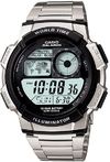 Casio World Time 100m Digital Watch - Silver and Black