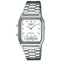 Casio Retro WR Analog and Digital Watch - Silver and White