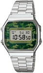Casio Retro Digital Watch - Silver and Camo