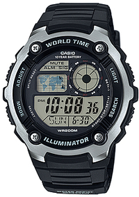Casio Standard Collection 10 Year Battery 200m WR Digital Watch - Black and Silver - Cover