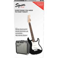 Squier Strat SS Pack Stratocaster Electric Guitar Pack with Amplifier - Short Scale (Black)